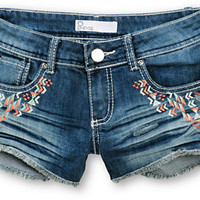 Empyre Embroidered Dark Wash Denim Shorts