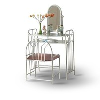White Metal Make Up Vanity With Table & Bench Set
