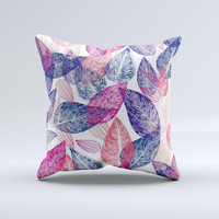 Seamless Pink & Blue Color Leaves Ink-Fuzed Decorative Throw Pillow