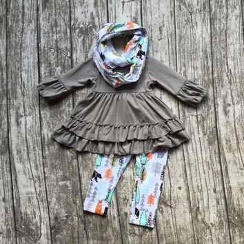 FALL/Winter scarf set children cotton suit baby  forest animal girls 3pieces grey ruffles print pants boutique clothes kids