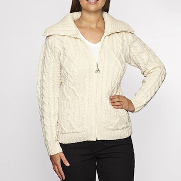 Ladies Zip Collar Cable Knit Sweater