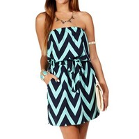 Navy/Mint Strapless Chevron Tunic