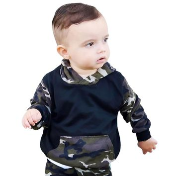 2pcs Clothing Sets Baby Boys Camo Hoodie Tops Long Pants