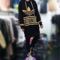 """""""Adidas"""" Women Casual Fashion Sequin Stripe Letter Print Long Sleeve Middle Long Section Hooded Sweater Dress"""