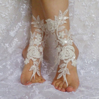 White, black, ivory Beach wedding barefoot sandals Ivory Barefoot