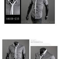 Slim Fit Short Sleeve Dress Shirt with Tie