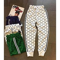 Gucci New Couple Sports Pants Logo Full Printed Cotton Casual Paragraph Pants Trousers