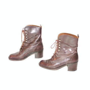 size 6.5 platforms GRUNGE brown leather lace up combat boots