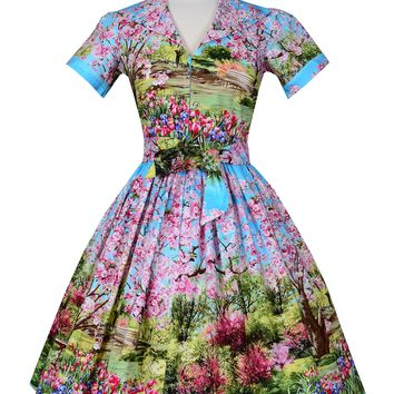 Lauren Dress in Cherry Tree Lane print