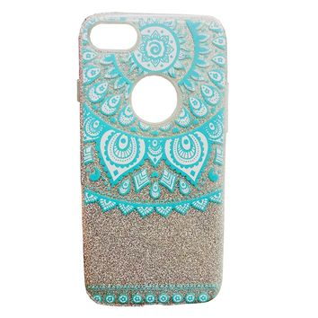 iPhone 6/6s/7/8 Case Mandala Print Glitter Sparkle Bling Wireless Charging Support High Shock Protection Apple Case Cover Aqua Blue