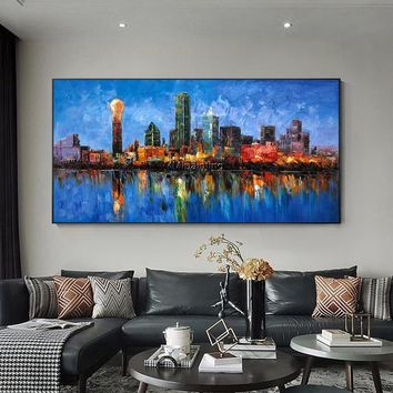 Dallas Cityscape oil painting original Palette knife heavy texture Large abstract painting on canvas wall art picture for living room