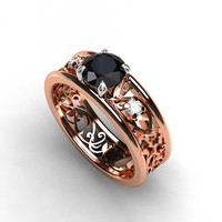 Black diamond filigree engagement ring, rose gold, white gold, unique, rose gold engagement, gothic, diamond ring, black wedding, two tone