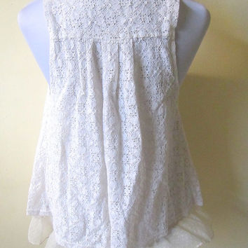 SALE! ivory white doily lace open vest (small to medium)