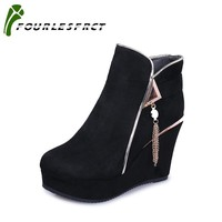 2017 Fashion 35-39 Zip Autumn Winter Boots Women Shoes Warm Fur Addible Ankle Boots Round Boots High Heels Boots Black Brown
