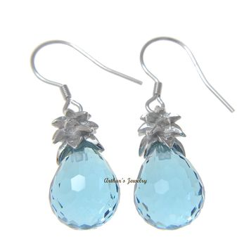 FACETED BLUE CRYSTAL HAWAIIAN PINEAPPLE HOOK EARRINGS 925 STERLING SILVER 10MM