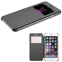 Book-Style View-Flip with Frosted Tray iPhone 6 Plus Case - Black