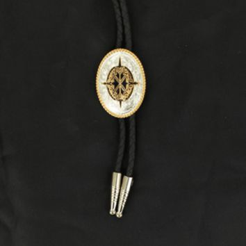 Black and Gold Aztec Engraved Silver Bolo Tie