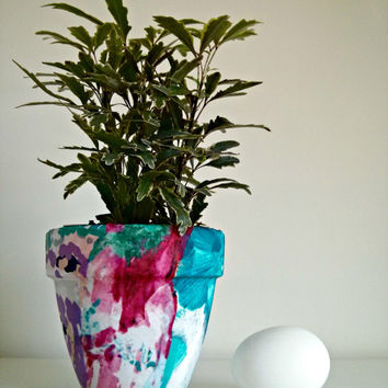 Colorful Flower Pot House Plant Holder Modern Abstract Terra Cotta Garden & Home Decor Household Container