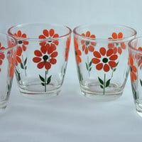 Vintage Glassware-Sour Cream Glass-Hazel Atlas-Orange Daisy-1/2 Pint