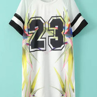 White Letter Printed Stripe Trimmed Casual Dress