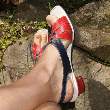 60's Red and Blue Penaljo Slingback Sandals
