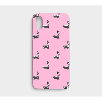 Skunk Cell Phone Case iPhone X / XS - Black on Pink
