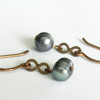 Forged Copper and Lavender Freshwater Pearl Earrings // Bohemian Rustic Tribal Earrings // June Birthstone Earrings