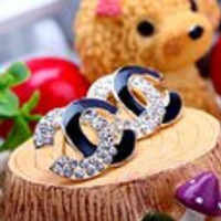 Limited Edition Half & Half Gold with Black Crystal Plated CC Stud Earring with Clear White Crystal