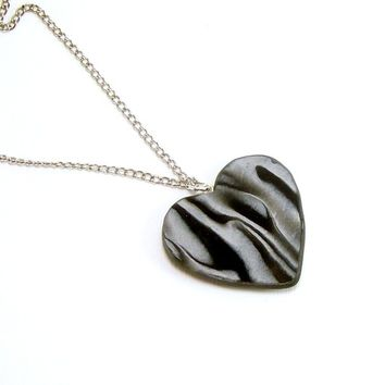 Black and White Polymer Clay Pendant Necklace, Handmade Polymer Clay Jewelry