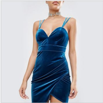 Velvet shoulders with irregular sexy dress dress