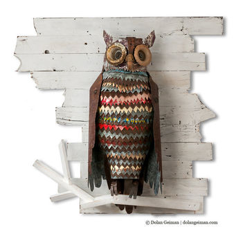 Metal Owl Sculpture, The Path at Night, Colorful Salvaged Metal Assemblage on White Wood Fence, Made to Order