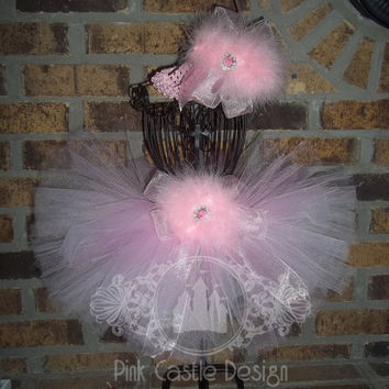 4 Piece Set Fairy Pink Tutu Skirt and Matching Headband with Wings and a Wand