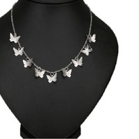 Butterfly Silver Plated Choker Necklace