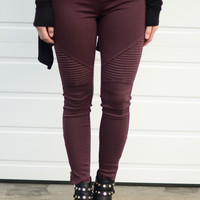 Go For It Moto Pants- Plum