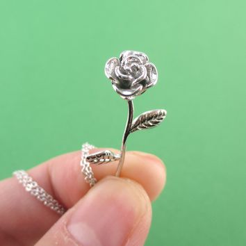 3D Realistic Floral Miniature Rose Shaped Pendant Necklace in Silver