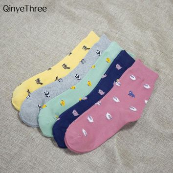 Fashion Small Cute Animal Cartoon Socks Spring Women Socks Soft Cotton Socks With Prints Chick raccoon little sheep panda piggy