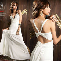 Sexy Charming Womens Long Dress Shining Jewels Deep V-neck Backless Party 15N