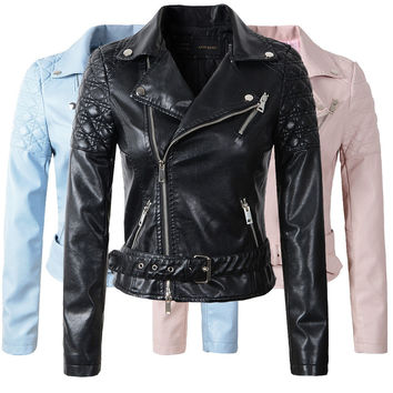 New 2017  jaqueta couro Women's Winter Autumn New Clothing Brand Fashion Slim Pink Blue Black Faux Leather Jackets Women jacket