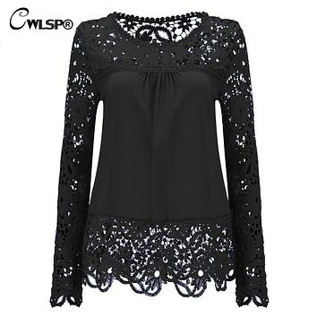 CWLSP Plus size Women Chiffon Blouses Shirts Long Sleeve Tops Lace Blouses out Crochet Blusas Femininas