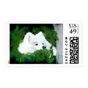 Samoyed Stamp v2; Med.,$.47 1st Class--Zazzle Only