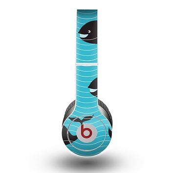 The Teal Smiling Black Whale Pattern Skin for the Beats by Dre Original Solo-Solo HD Headphones