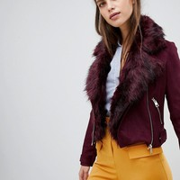 River Island faux fur collar biker jacket in burgundy at asos.com