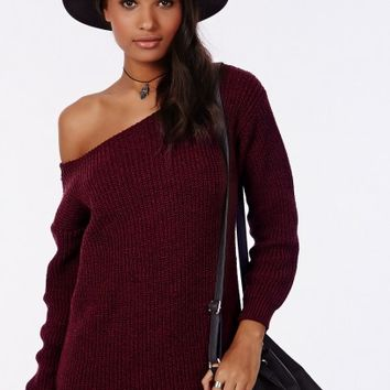 Missguided - Ayvan Off Shoulder Knitted Sweater Dress Wine