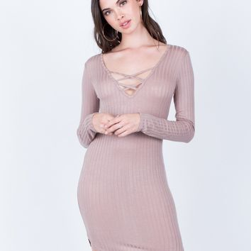 Criss Cross Ribbed Dress