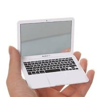 Mini Macbook Air Style Portable Mirror/ Apple Notebook Creative Make up Mirror - White