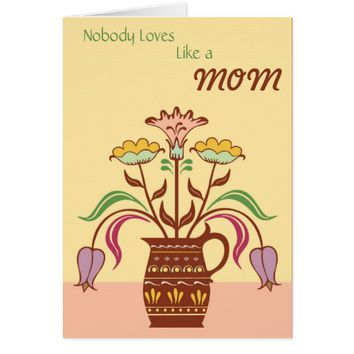 Brown Flowers Vase Birthday Greeting Card