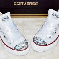 Customised Crystal White Low Top All Star Converse with Blinged Crystal Toes & White Satin Ribbon Laces Custom Order Womens Adults Shoes