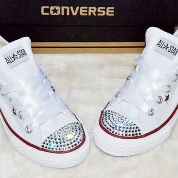Customised Crystal White Low Top All Star Converse with Blinged Crystal  Toes   White Satin Ribbon f788bb58f69b