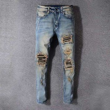 ONETOW style 527 fear of godMens distressed embellished ribbed stretch moto pants biker jeans slim trousers size 28 42