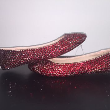 "Bedazzled Ballet Flats In Nude ""Dorothy Slippers"" With Siam Red Crystals"